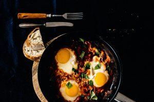 Breakfast prepared in a non-stick pan.