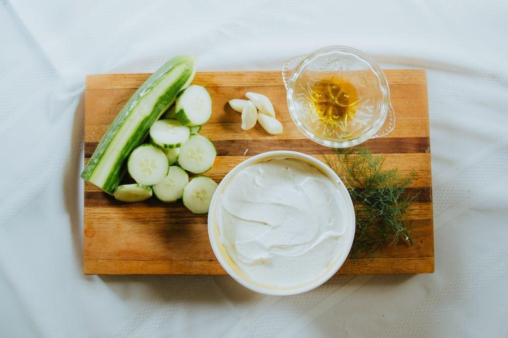 yogurt, dill, garlic, and cucumber